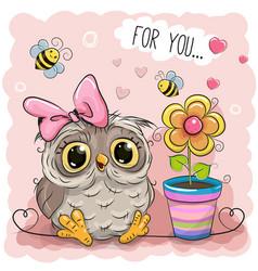 Cute cartoon owl with flower vector
