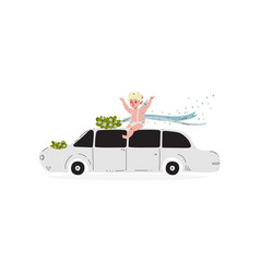 Cute cupid sitting on wedding retro car amur baby vector