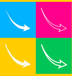 declining arrow sign four styles of icon on four vector image