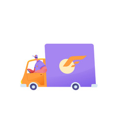delivery courier cargo van vehicle shipping vector image