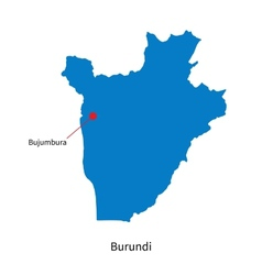 Detailed map of Burundi and capital city Bujumbura vector