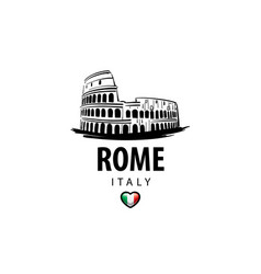 drawing colosseum in rome on a white vector image