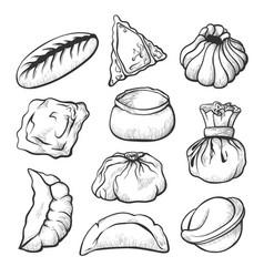 dumpling sketch healthy cooking and appetizer set vector image