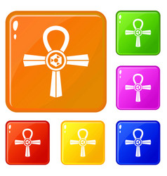 Egypt ankh symbol icons set color vector