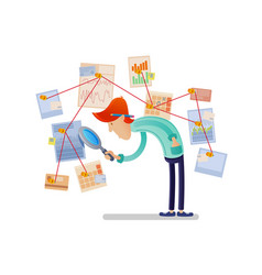 financial analyst with magnifying glass vector image