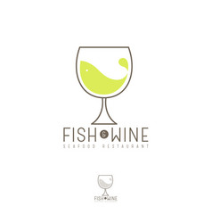 Fish and wine flat logo seafood restaurant emblem vector