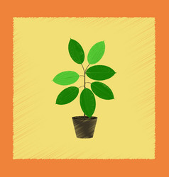 Flat shading style plant ficus vector