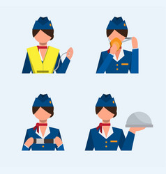 flight attendant icon set safety instructions vector image