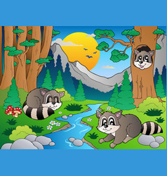 Forest scene with various animals 6 vector