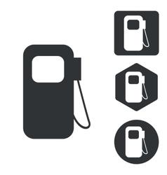 Gas pump icon set monochrome vector image