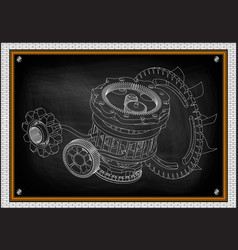 gear mechanism on black vector image vector image