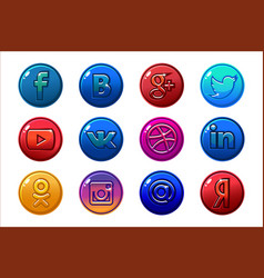 Golden and colored icons social media circle vector