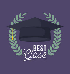 Graduation class celebration card with hat vector