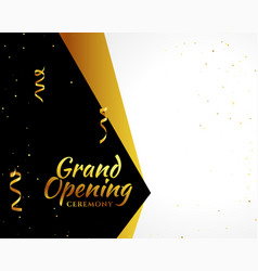 Grand opening golden banner with text space vector