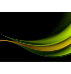 Green and orange waves on black background vector image vector image