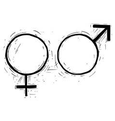 hand drawing female and male symbol vector image
