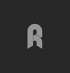 hipster white letter r monogram linear or icon on vector image