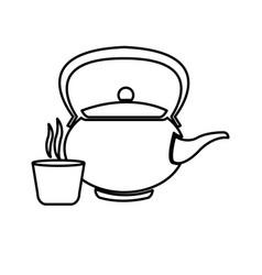 Japanese teapot teacup drink oriental line vector