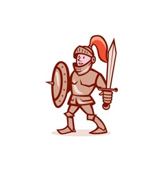 Knight Shield Sword Cartoon vector image