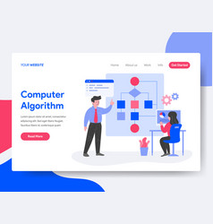 landing page template computer algorithm vector image