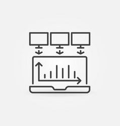 laptop data mining outline concept icon vector image