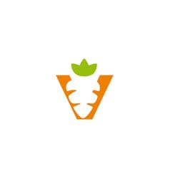 Letter v carrot logo icon design concept template vector