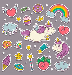 magic wand unicorn rainbow sweets ice cream vector image