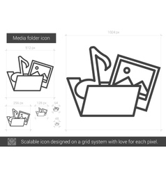 Media folder line icon vector image