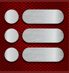 Metal brushed plates on red perforated background vector