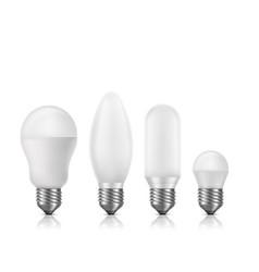modern fluorescent led light bulbs set vector image