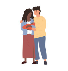 Mother and father holding newborn baby vector