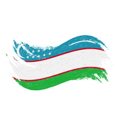 national flag of uzbekistan designed using brush vector image