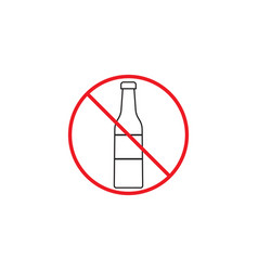 No alcohol line icon red prohibited sign vector