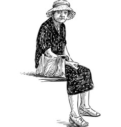 Old lady in a hat vector