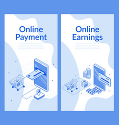 Online payment earnings on cash back isometric set vector