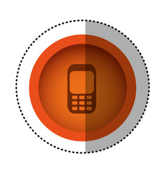 Orange round symbol communication cellphone call vector