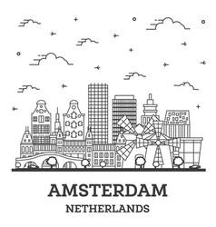 Outline amsterdam netherlands city skyline vector