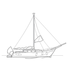 Outline sailing ship yachts vector