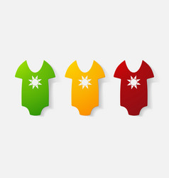 Paper clipped sticker baby bodysuit vector