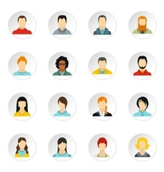 People icons set flat style vector