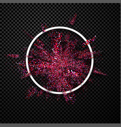 pink glitter explosion in white round frame vector image