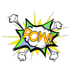 pow colorful speech bubble and explosions in pop vector image