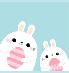 rabbit bunny friends holding painting egg set vector image
