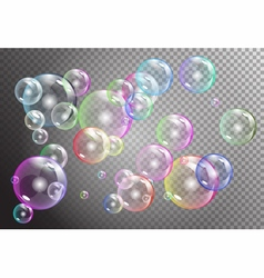 Raibow bubbles on transparent background vector