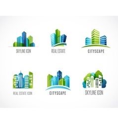 Real estate city skyline icons and logos vector