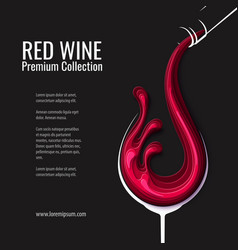 red wine splash in glass with bottle vector image