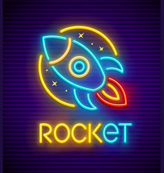 Rocket neon sign vector