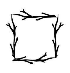 Rustic square branches decoration vector