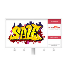 Sale ad banner on the billboard graffiti style vector