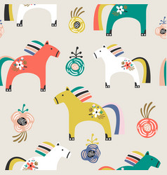 seamless pattern with decorative wooden toy horse vector image
